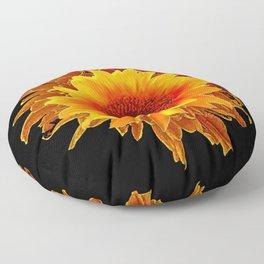 Decor Black & Brown Golden Sunflower Art Floor Pillow
