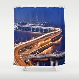 Amazing Gwangandaegyo Diamond Bridge Haeundae-gu Suyeong-gu Busan South Korea Asia Ultra HD Shower Curtain