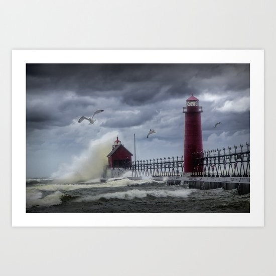 New Years Day Storm at the Grand Haven Lighthouse in Michigan Art Print