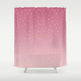 Gold Hearts Blush Pink Ombre Shower Curtain