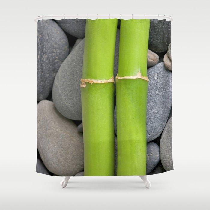 Green Bamboo Sticks On Pebble Shower Curtain