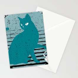 Passive Agressive Pussy Cat Retro Style Stationery Cards