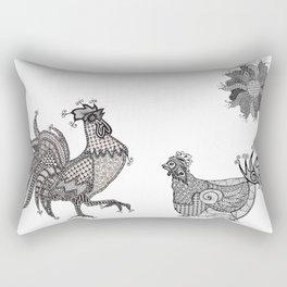 Tangled Rooster & Hen Rectangular Pillow