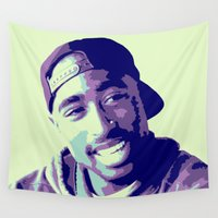 tupac Wall Tapestries featuring Tupac by victorygarlic - Niki