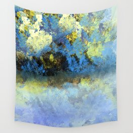 Bright Blue and Golden Pond Wall Tapestry