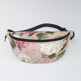 Vintage green pink white bohemian hortensia flowers Fanny Pack
