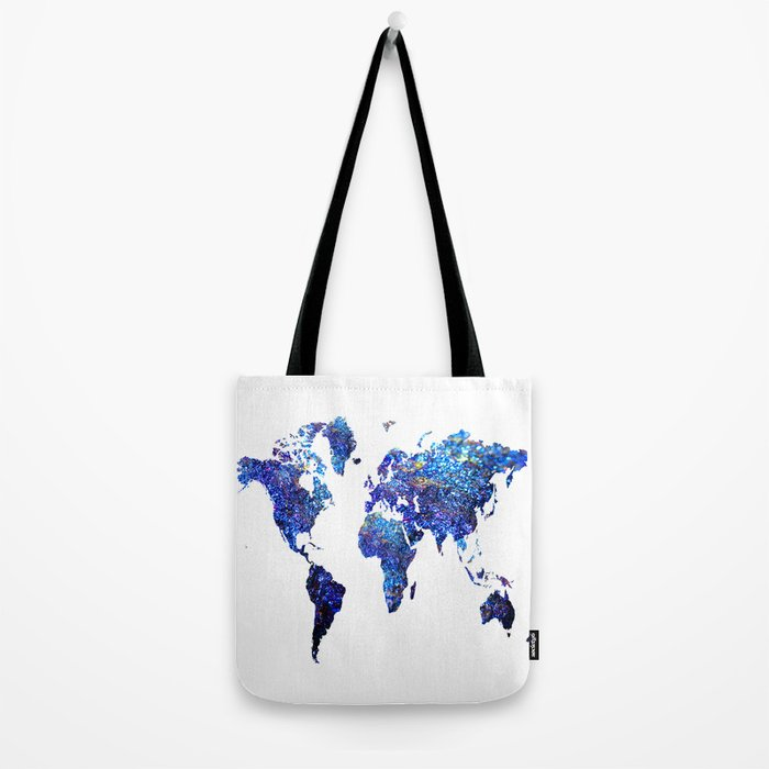 World Map blue purple Tote Bag
