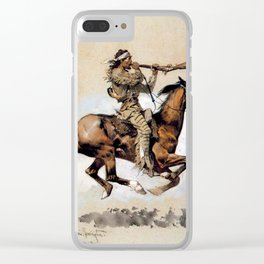 "Frederic Remington ""Buffalo Hunter Spitting Bullets"" Western Art Clear iPhone Case"
