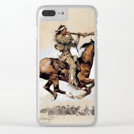 "Frederic Remington ""Buffalo Hunter Spitting Bullets"" Western Art Clear iPhone Case"