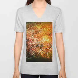 Windblown Cherry Blossom Unisex V-Neck