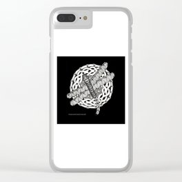 Zentangle Dragonfly Black and White Illustration Clear iPhone Case