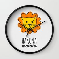 lion king Wall Clocks featuring Lion & King by Jane Mathieu