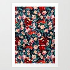Santa Claus and Floral Pattern Art Print