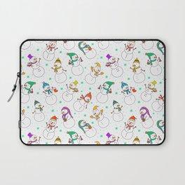 Cute red purple white snowman christmas pattern Laptop Sleeve