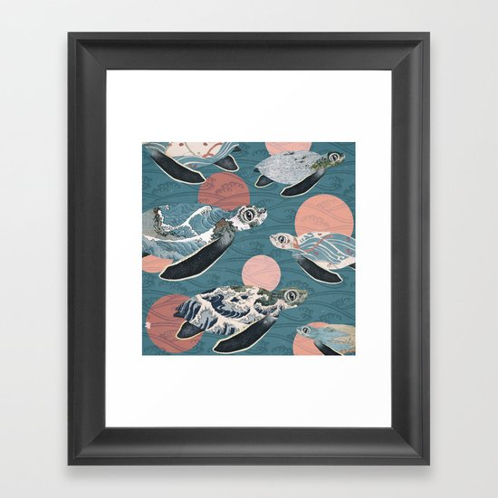 Sea Turtle Polka Framed Art Print