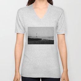 Black & white Lighthouse print Unisex V-Neck