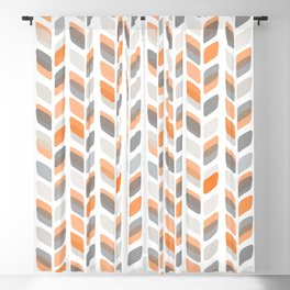 Modern Rectangle Print with Retro Abstract Leaf Pattern Blackout Curtain