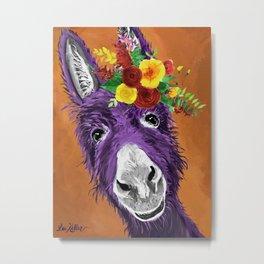 Colorful Donkey Art, Flower Crown Donkey Art Metal Print