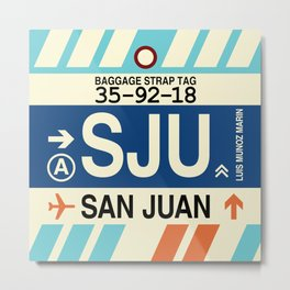 SJU San Juan • Airport Code and Vintage Baggage Tag Design Metal Print