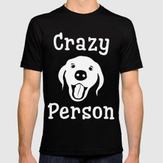 Crazy Dog Person Black Mens Fitted Tee MEDIUM