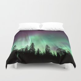 Colorful Northern Lights, Aurora Borealis Duvet Cover