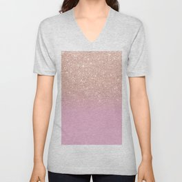Rose gold glitter ombre on sweet lilac Unisex V-Neck