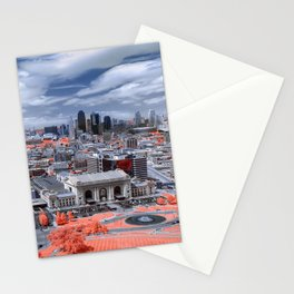 USA Town square Megapolis Kansas Autumn Houses Cities megalopolis Building Stationery Cards