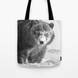 Alaskan Grizzly Bear in Snow, B & W - 3 Tote Bag