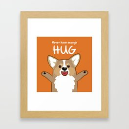 Hug Corgi Framed Art Print