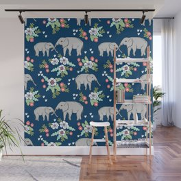 Elephants pattern navy blue with florals cute nursery baby animals lucky gifts Wall Mural