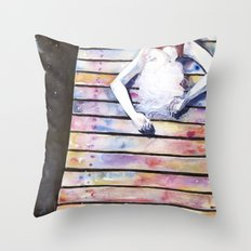 on the jetty, in the sun, her mind was elsewhere Throw Pillow