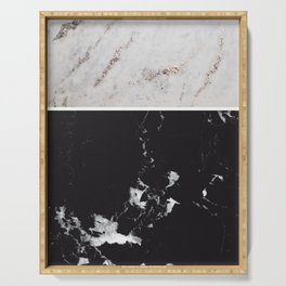 White Glitter Marble & Black Marble #1 #decor #art #society6 Serving Tray