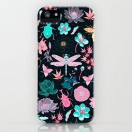 Japanese insect and flowers iPhone Case