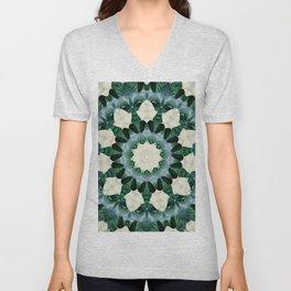 Sacramento Green and Cerulean Blue Mandala Unisex V-Neck