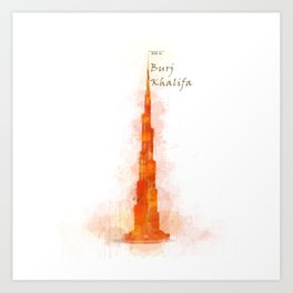 Burj Khalifa, Dubai, Emirates in WaterColor Red Art Print
