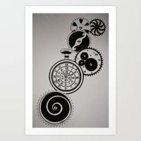 clockwork Art Prints featuring ClockWork by Kelly N. Gin