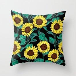 Sunny Sunflowers - Black Throw Pillow