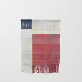 Blue, Red And White With Golden Lines Abstract Painting Wall Hanging