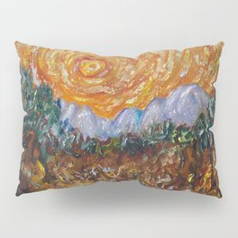 Trees, Yellow Sky and Sun Inspired by Vincent Van Gogh's Painting Pillow Sham