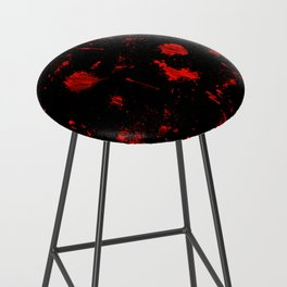 Red Paint / Blood splatter on black Bar Stool