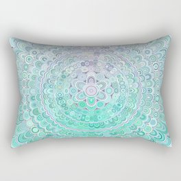 Turquoise Ice Flower Mandala Rectangular Pillow