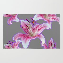 PURPLE & PINK ASIAN LILIES GREY ART PATTERNS Rug