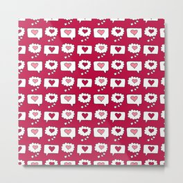 Doodle hearts and speech bubbles with a red background Metal Print