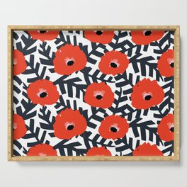 Summer Poppy Floral Print Serving Tray