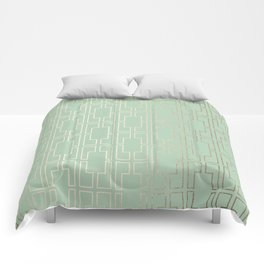 Simply Mid-Century in White Gold Sands and Pastel Cactus Green Comforters