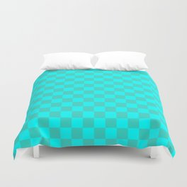 Cyan and Turquoise Checkerboard Duvet Cover