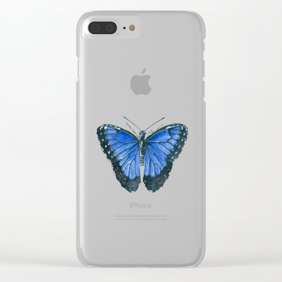 Blue Morpho butterfly watercolor painting Clear iPhone Case