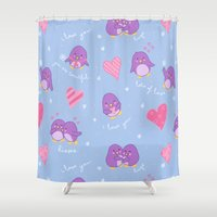 penguins Shower Curtains featuring penguins by lindsey salles