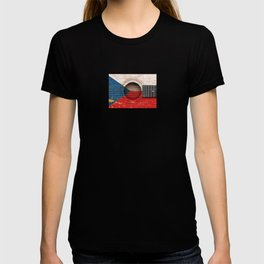 Old Vintage Acoustic Guitar with Czech Flag T-shirt