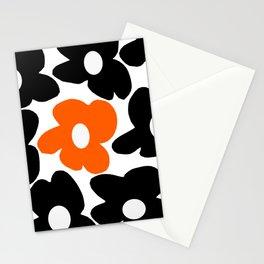 Large Orange and Black Retro Flowers White Background #decor #society6 #buyart Stationery Cards